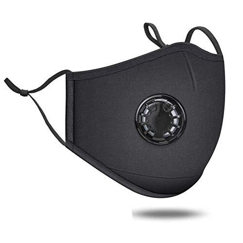 Twakom - Maschera di Protezione Contro la Polvere, Lavabile, con 6 filtri di Ricambio, Protezione per la Bocca Multiuso, Anti-Sporco, per Ciclismo, Moto, Bicicletta Nero