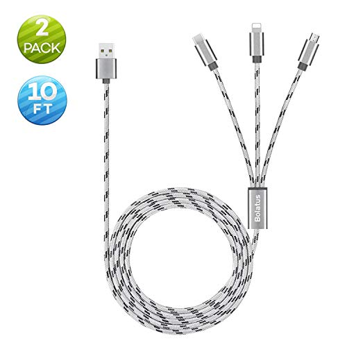 Bolatus 3meters Multi USB Kabel Universal Ladekabel 3 in 1 Nylon Mehrfach Handy Ladegerät Adapter Lang Kabel mit Typ C Micro USB Kompatibel mit Smartphone, Tablets und mehr (2Pack*10FT)