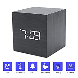 VIGIND Digital Alarm Clock, Mini Modern Cube Desk Alarm Clock,USB/Battery Powered Wood LED Light Table Clock, Displays Time Date Temperature for Kids,Bedroom with Adjustable Brightness Voice Control