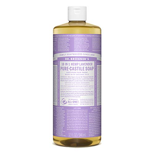 Dr. Bronner's - Pure-Castile Liquid Soap (Lavender, 32 Fl Oz) - Made with Organic Oils, 18-in-1 Uses: Face, Body, Hair, Laundry, Pets and Dishes, Concentrated, Vegan, Non-GMO