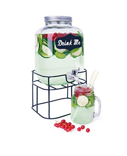 Excelsa Funny Party Dispenser Bevande, con Supporto in Metallo e Rubinetto per erogazione alla Spina, Trasparente, 5 Litri