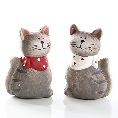 Logbuch-Verlag 2 kleine Deko Katzen zum Hinstellen grau rot weiß aus Keramik - Dekofiguren Tierfiguren 7 cm - Katzenfigur als Geschenk