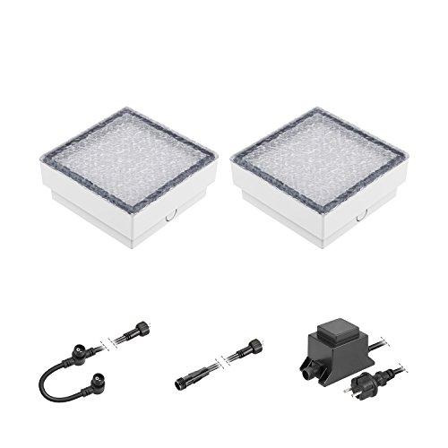 ledscom.de LED Pflaster-Stein Gorgon Boden-Einbauleuchte für außen, 15x15cm, 12V, warm-weiß 2er Set