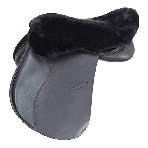 Merauno English Merino Sheepskin Saddle Seat Cover -Reitsport Lammfell Sattelsitzbezug englisch Schwarz