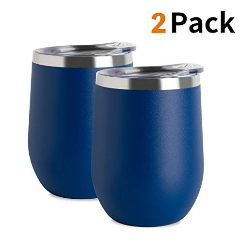 Jearey Stemless Wine Glass Tumbler 12 oz Stainless Steel Double Wall Vacuum Insulated Wine Cup with Lid Travel Friendly (1 Pack, Navy)