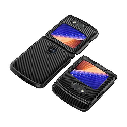 PUROOM HOBETRE Schutzhülle für Motorola Razr 5G (Carbonfaser-Leder, Hybrid-Hülle, stoßfest), Schwarz