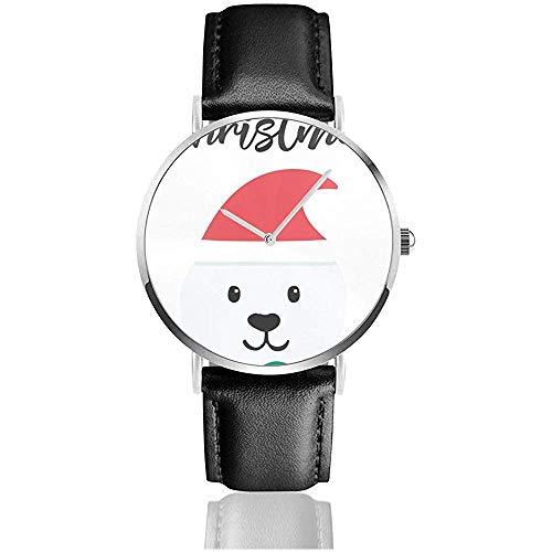 Monkey Hoo Weihnachten und Neujahr Gruß oder Einladung Uhren für Frauen Männer 'S Business Casual Armbanduhr Watch Black