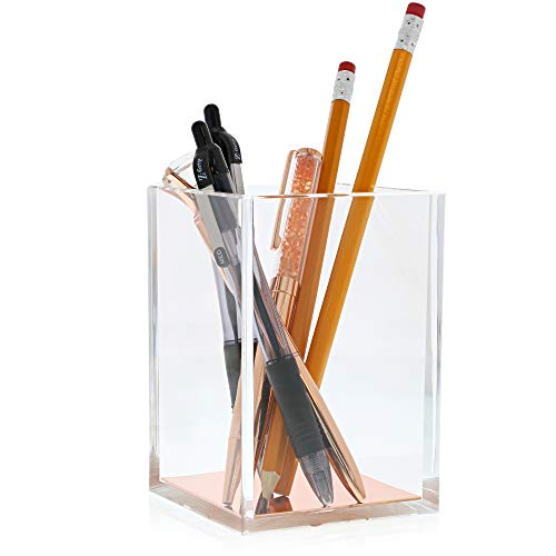 Juvale Acrylic Pen Holder, Crystal Clear Pencil Cup Desktop...