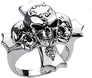 Solid Sterling Silver Triple Skull Cross Ring For Men