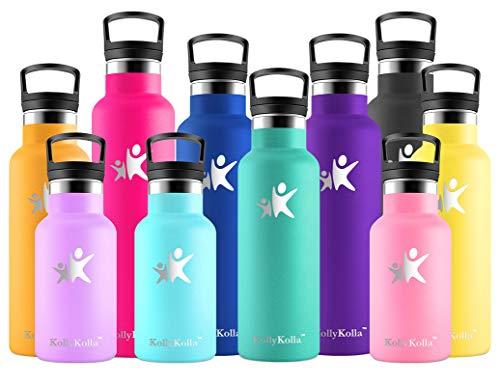 KollyKolla Botella de Agua Acero Inoxidable, Termo Sin BPA Ecológica Reutilizable, Botella Termica con Pajita y Filtro, Water Bottle para Niños & Adultos, Deporte, Oficina, Yoga, (350ml Esmeralda)