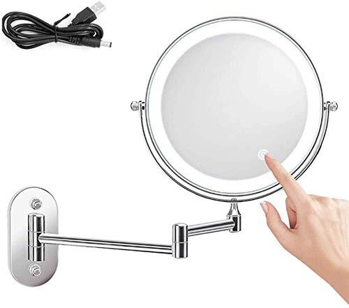 ROSG Espejo de Pared con luz LED, Espejo de Maquillaje Giratorio, para Afeitar el Dormitorio del baño, Alimentado por USB (tamaño: 5X)
