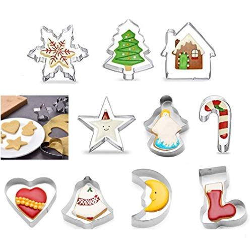 Kaishuai Stampi per Biscotti,formine per Biscotti,10PCS Formine Biscotti,Formine Biscotti Natale,3D Formine Biscotti in Acciaio Inox,stampi Biscotti,DIY Decorazioni,Formine per Biscotti Natale.
