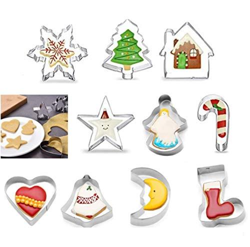 Bochang Kaishuai-10 Moldes para Galletas,Cortadores de Galletas,Acero Inoxidable Galletas Cortador para Cookie,Fondant,moldes Galletas,Formas Navideña Variadas Fiesta Navidad,Moldes Galletas Infantil