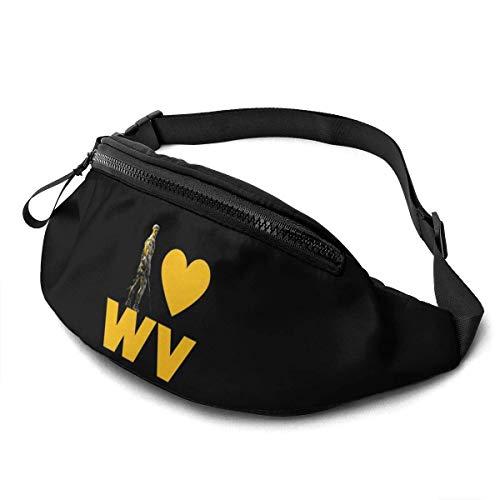 AOOEDM Riñonera para Hombres y Mujeres, I Love West Virginia Casual riñonera para Exteriores para Entrenamiento, Viajes, Senderismo