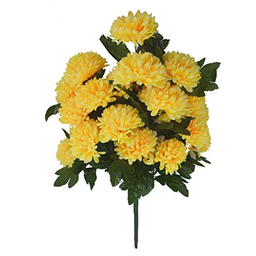 Herran Flores Artificiales Al Aire Libre Crisantemo Flores De Seda Ramo Plástico Flores Falsas para El Hogar Jardín…