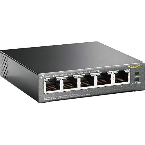 TP-Link TL-SG1005P Desktop Switch, 5 Porte Gigabit 10/100/1000 Mbit, 4 Porte PoE fino a 56W, Protezione da Sovraccarico, Semplicità d'Uso