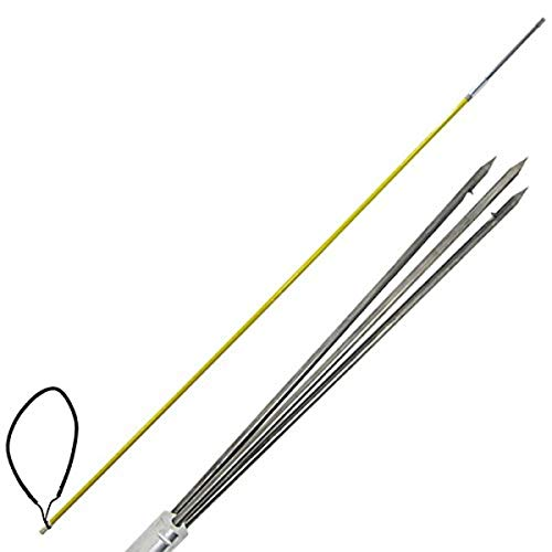 Scuba Choice 5' One Piece Spearfishing Fiber Glass Pole Spear with 3 Prong Barb SS Paralyzer Tip