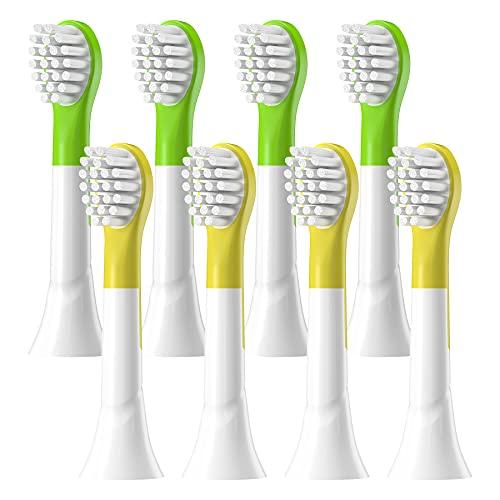 ITECHNIK Kids Bürstenköpfe, kompatibel mit Philips Sonicare Child HX6034/33 Ersatzbürsten, weiche Borsten für schonende Reinigung, 8er Pack grün à 4, 4 gelb