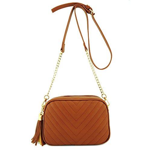 "Vegan Faux leather & gold tone hardware Tassel zipper top closure 1 slit pockets & 1 zipper pocket inside Adjustable & Detatchable shoulder strap (21"" ~ 24"" drop) 8.50"" (W) x 6.00"" (H) x 2.00"" (D)"