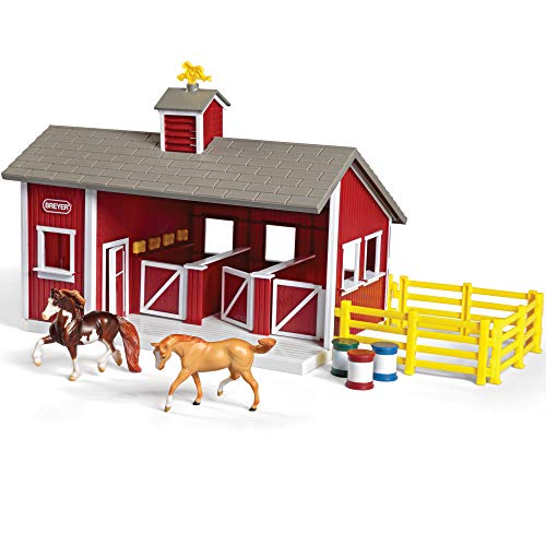 Breyer Stablemates Red Stable and Horse Set | 12 Piece Play set with 2 Horses | 11.5'L x 7.5'W x 9.25'H | 1:32 Scale | Model #59197