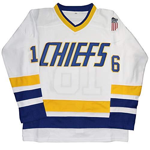 Micjersey Hanson Brothers Jersey, Charlestown Chiefs 16, 17, 18 Slap Shot Eishockey Movie Jersey - Wei� - X-Groß