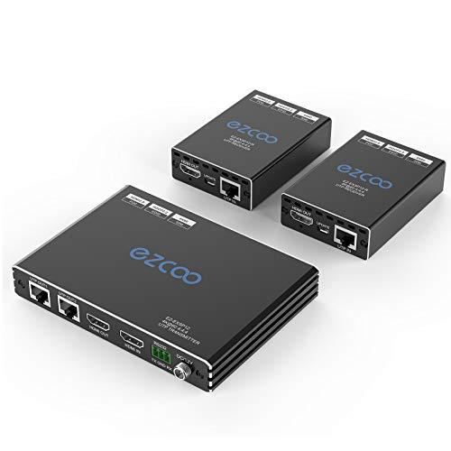 Extender splitter HDMI 4K 1 in 2 out su cat5/6, 4K 60Hz (4:4 8bit) Extender over Ethernet fino a 50m/165ft.HDCP2.2/PoE/EDID Gestione 5.1/7.1CH, bidirezionale IR Down scaling da 4K a 1080P