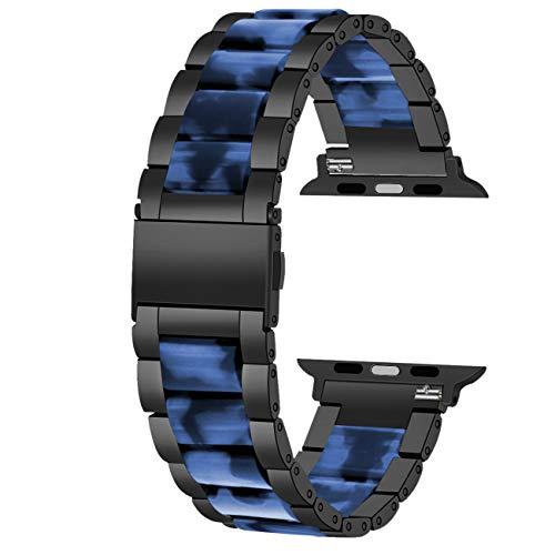 Juntan Correa de reloj de pulsera de resina azul de acero inoxidable compatible con iWatch 38mm 40mm for Apple Watch Series 6 SE 5 4 3 2 1 Smart Band Sport correa de repuesto botón plegable rá
