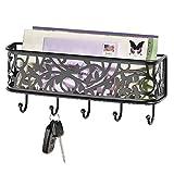 mDesign Guardallaves con cesta metálica – Versátil llavero de pared en metal para el recibidor, la cocina o la oficina – Bonito colgador de llaves con bandeja para cartas, móviles, etc. – negro mate