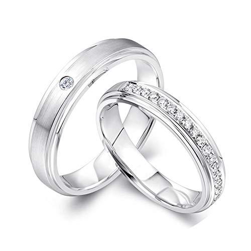 ANAZOZ 2x Trauringe/Eheringe Pt950 Platin Bandring Matt 0.25ct Diamant Eheringe Partnerringe Verlobungsringe Freundschaftsringe Hochzeitsringe Damenring 58 (18.5) & Herrenring 61 (19.4)