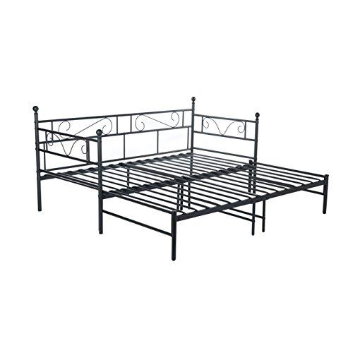 H.J WeDoo Tagesbett Ausziehbett Metall Single Sofa Optionen für Ausziehbett, Tagesbett mit Unterbett Trundle,Schwarz 197 x 95-177 x 94,5 cm