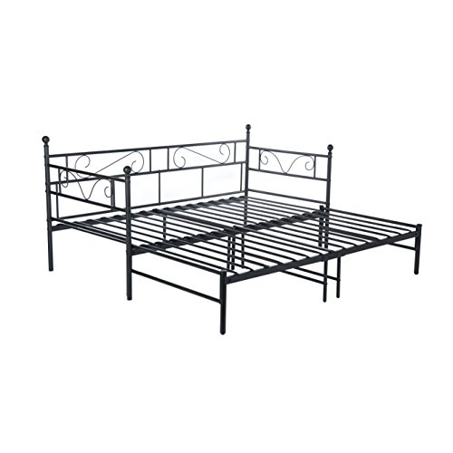 H.J WeDoo Daybed Twin Bed Frame with Headboard Platform Base Guest Bed Frame Sofa Bed with Pull Out Trundle for Living Room Guest Room(Black)