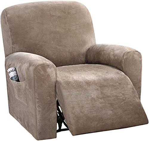 LINGKY Recliner Schonbezüge Recliner Cover Sofa Slipcover Sofabezug 4-teilige Möbelschutz Couch Rich Velvet Plüsch Form Fit Stretch Stylish Soft Mit Elastischem Boden (Taupe)