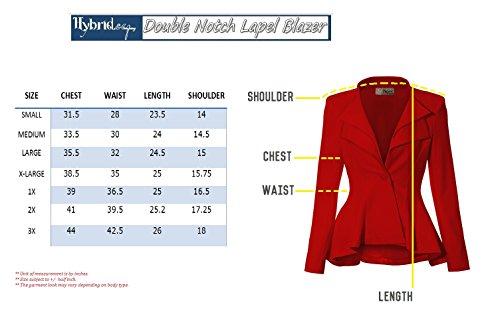 Women Double Notch Lapel Office Blazer JK43864 1073T BLACK 2X