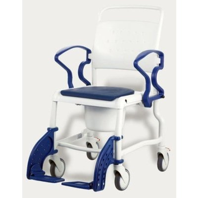 Toiletten-Rollstuhl BONN 5&quot Räder, blau, Toilettenhilfen