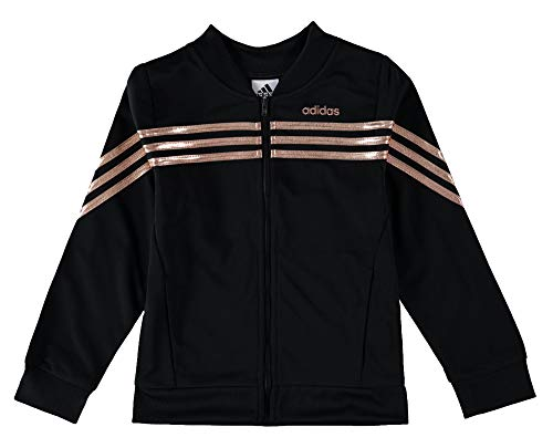 adidas Girls 7-16 Velour Bomber Jacket (Medium, Black)
