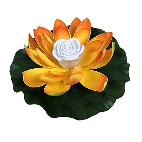 MINGMIN-DZ Dauerhaft 5 PC-LED, die Lotus-Blumen-Lampen-Dekorationen auf dem Wasser Swimming Pool Garten-Licht-Garten-Behälter-Teich-Dekor (Color : OY, Size : 28CM)