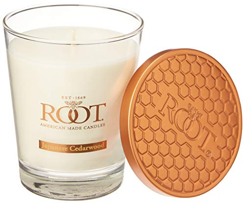 Root Candles Honeycomb Veriglass Scented Beeswax Blend Candle, Large, Japanese Cedarwood