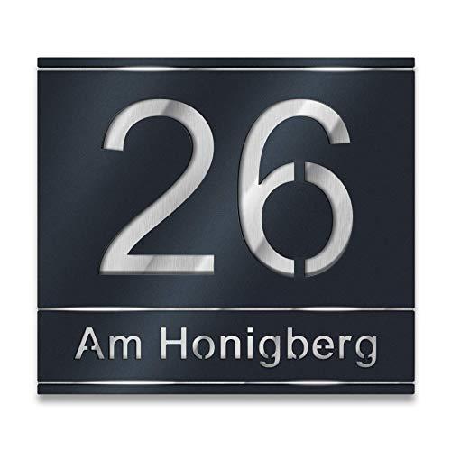 Metzler Hausnummer aus Edelstahl in Anthrazit (RAL 7016) / Schwarz/Weiß - Hausnummernschild mit Straßenname - Größen wählbar