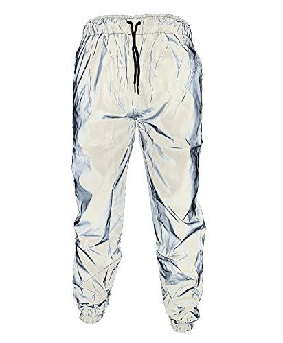 NewL UltraVisible - Pantalones reflectantes para hombre para correr o ir en bicicleta gris XL