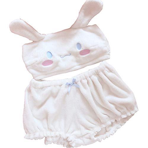 BZB Plush Pajamas Set for Women Cinnamoroll Melody Kuromi Anime Costumes Tube Top and Shorts Kawaii Cartoon Sleepwear Suits White