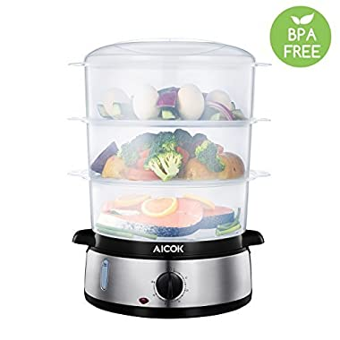 Food Steamer 9.5 Quart Aicok Vegetable Steamer BPA Free, Electric Steamer 800W Fast Heat up, including 3 Tier Stackable Baskets with Egg Holders and a Rice bowl, Stainless Steel