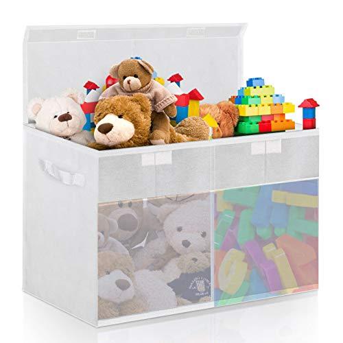 king do way Aufbewahrungsbox mit Deckel 100L, Kinder Aufbewahrung, 75cm x 35cm x 40cm Faltbar Spielzeugkiste mit Deckel, Aufbewahrungskiste mit Deckel, Kann Spielzeug, Kleidung Aufbewahren,Weiß