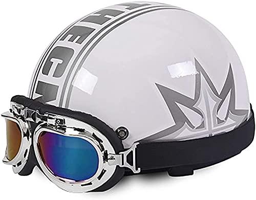 Casco de motocicleta estilo retro Casco de motocicleta Aviator Goggles Motocicleta Half Cascos, Certificación ECE Moda Sombrero de Cráneo Moda para Cruiser Chopper ( Color : 4 , Size : 54-59CM )