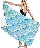 HSHY Glitter Fish Scales Patrón sin Costuras Cola de Sirena Toalla de Playa Silla Gruesa Suave Secado rápido Toallas absorbentes Mantahshy