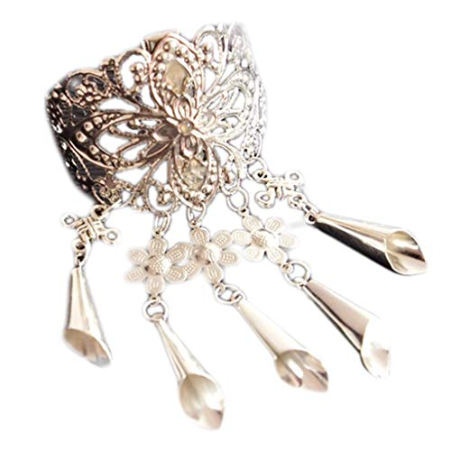 niumanery Women Ancient Chinese Style Metal Alloy Hair Clips Hollow Out Carving Floral Hairgrips Long Tassels Pendant Alligator Hairpins Claw Wedding Party Barrettes