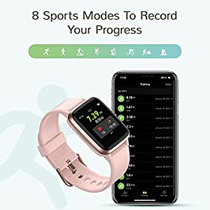 """Letsfit Smart Watch, Fitness Tracker with Heart Rate Monitor, Activity Tracker with 1.3"""" Touch Screen, IP68 Waterproof Pedometer Smartwatch with Sleep Monitor, Step Counter for Women and Men"""