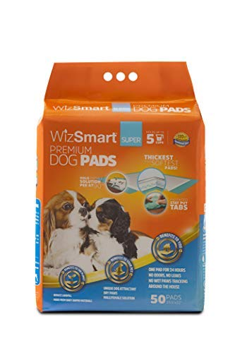 WizSmart All Day Dry Premium Dog and Puppy Training Pads, Made with Recycled Unused Baby Diapers and Eco Friendly Materials, 5 Cup Super 50 Count