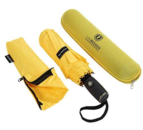 VAN BEEKEN Regenschirm sturmfest bis 140 km/h - Kleiner Leichter und kompakter Damen Herren Schirm mit Auf-Zu-Automatik - windsicherer Taschenschirm mit Tasche, Etui und Teflon-Beschichtung, Gelb