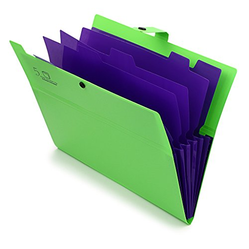 5-Pocket Expanding File with Button Closure, A4 Size Accordion File Folder Organizer Binder Wallet for Paper Projects Cards Bills Receipts Checks Invoice Pouch School & Office Supply, Green Photo #3