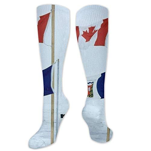Polyester Katoen Over Knie Been Hoge Sokken Retro Unisex Dij Kousen Cosplay Laarzen Lange Tube Sokken voor Sport Gym Yoga-Noord Canada Vlaggen Canadese Vlaggenstok